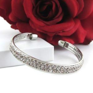Crystal Gem Silver Cuff Bangle Bracelet